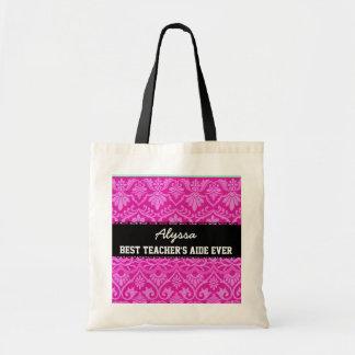 Pink Best Teacher 's Aide Ever Custom Name Bag