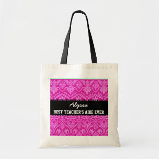 Pink Best Teacher 's Aide Ever Custom Name Budget Tote Bag