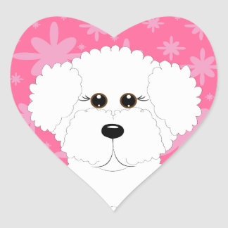 Pink Bichon Frise Heart Stickers