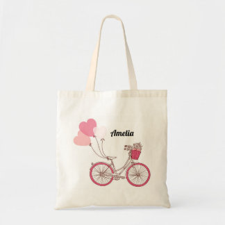 Pink Bicycle and Heart Balloons Personalized Bag