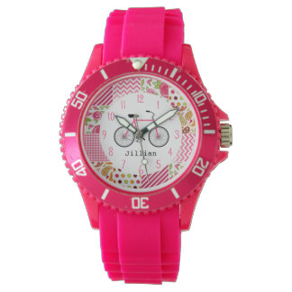 Pink Bicycle & Patchwork Pattern Watch