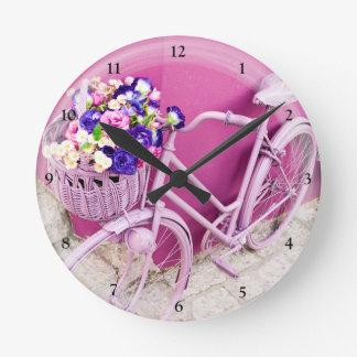 Pink Bicycle Round Clock
