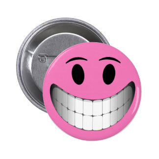 Pink Big Smile Smiley Face 6 Cm Round Badge