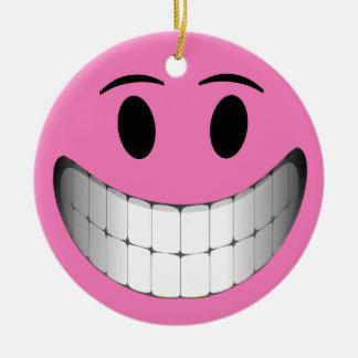 Pink Big Smile Smiley Face Ceramic Ornament