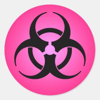 Pink Biohazard Symbol Classic Round Sticker