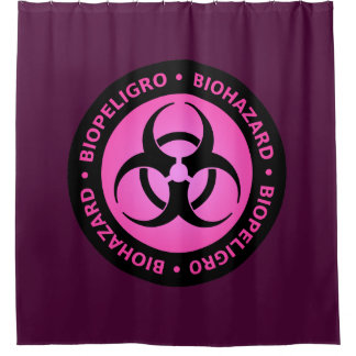 Pink Biohazard Warning Sign Shower Curtain