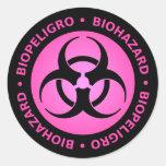Pink Biohazard Warning Sticker Sticker