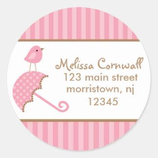 Pink Bird Address Labels Round Sticker