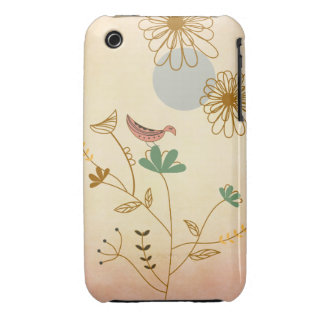 Pink Bird and Flowers iPhone 3 Covers