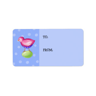 Pink Bird blue Gift Tag Address Label