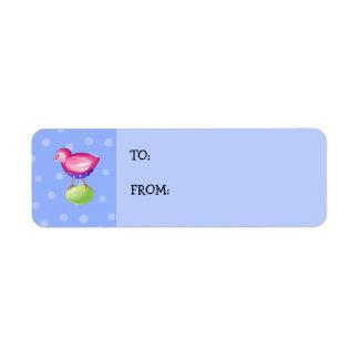 Pink Bird blue Small Gift Tag Return Address Label