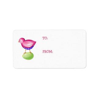 Pink Bird Gift Tag Address Label