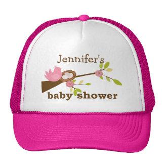 Pink Bird, Nest, Baby Shower Cap