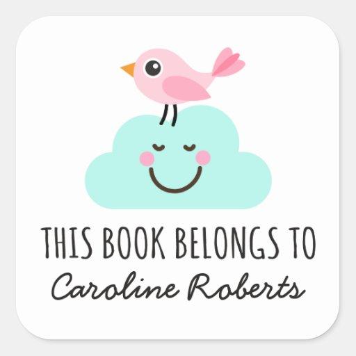 Pink bird on happy cloud cute bookplate stickers