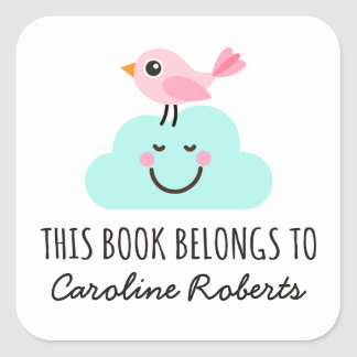 Pink bird on happy cloud cute bookplate stickers