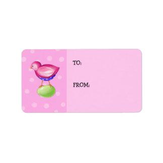 Pink Bird pink Gift Tag Address Label