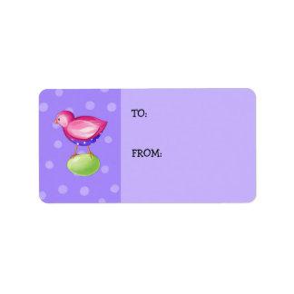 Pink Bird purple Gift Tag Address Label
