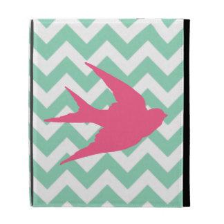 Pink Bird Silhouette on Chevron Stripes iPad Folio Cases