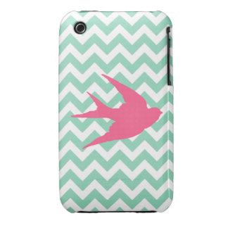 Pink Bird Silhouette on Chevron Stripes iPhone 3 Case