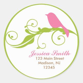 Pink Bird Round Sticker