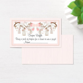 Pink Birdcage Diaper Raffle Tickets, Business Card