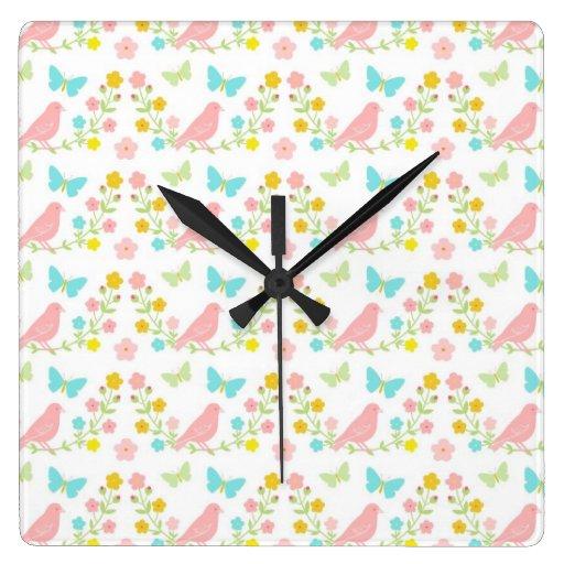 Pink birds and blue butterflies wallclock