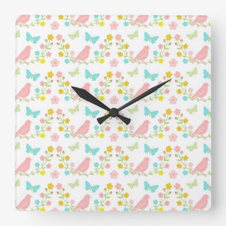 Pink birds and blue butterflies square wall clock
