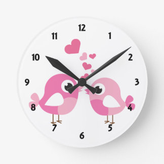 Pink Birds Childrens Learning Round Wall Clock