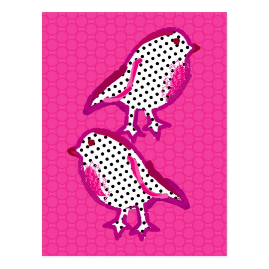 'pink birds' digital painting Postcard