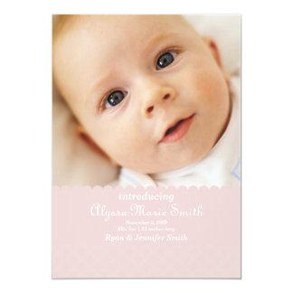 "pink birth announcement 5"" x 7"" invitation card"