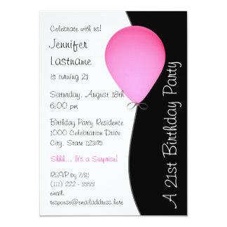 Pink Birthday Balloon 11 Cm X 16 Cm Invitation Card