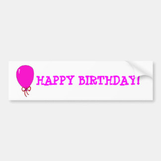 Pink Birthday Balloon Template Design Bumper Sticker