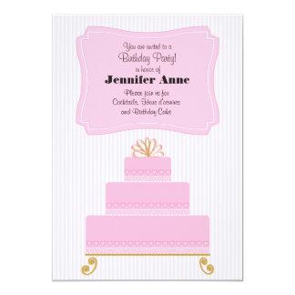 Pink Birthday Cake 5x7 Invitation