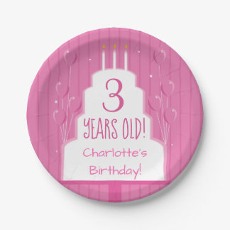 Pink Birthday Cake and Balloons | Paper Plate