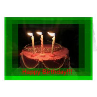 Pink Birthday Cake (close up ) Birthday CARD!! Greeting Card