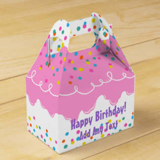 Pink Birthday Cake Frosting Favour Box