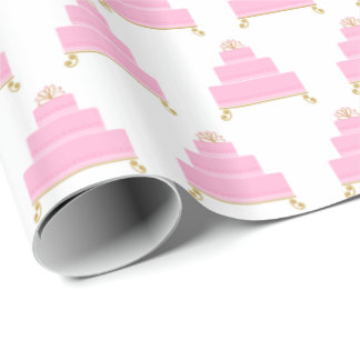 Pink Birthday Cake Hearts Wrapping Paper
