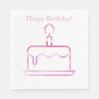 Pink Birthday Cake Napkins Disposable Serviette