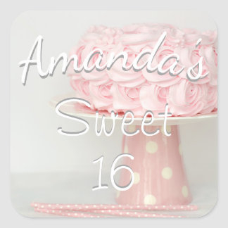 Pink Birthday Cake Sweet 16 Customize Sticker