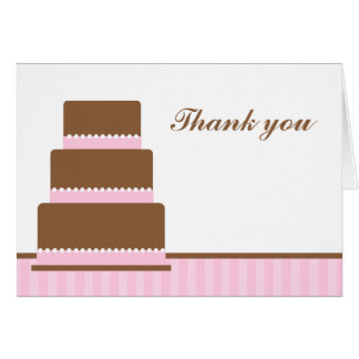Pink Birthday Cake Thank You Notes