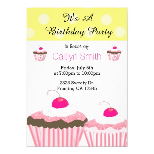 Pink Birthday Cupcakes Personalized Invite