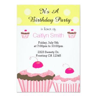Pink Birthday Cupcakes 4.5x6.25 Paper Invitation Card