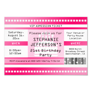 Pink Birthday Party Admission Ticket 3.5x5 Paper Invitation Card
