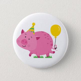 Pink Birthday Party Pig 6 Cm Round Badge