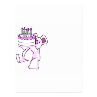 Pink Birthday Teddy Bear Party Theme Postcard