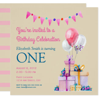 Pink Birthday Watercolor Birthday Party Card