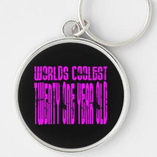 Pink Birthday Worlds Coolest Twenty One Year Old Key Chains