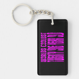 Pink Birthday Worlds Coolest Twenty One Year Old Double-Sided Rectangular Acrylic Keychain