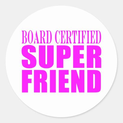 Pink Birthdays & Christmas : Super Friend Round Stickers