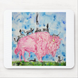 pink bison and black cats mouse pad